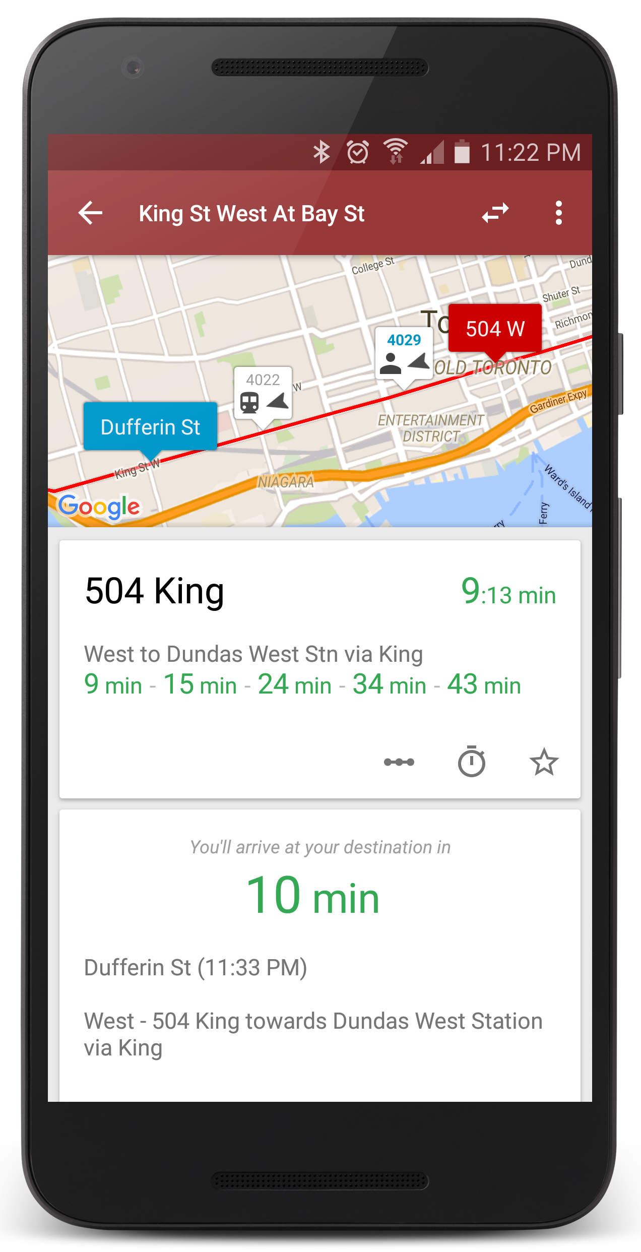 View bus and streetcars arrival times in real-time on a map.